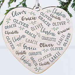 4-Inch Personalized Farmhouse Heart Wooden Christmas Ornament in White