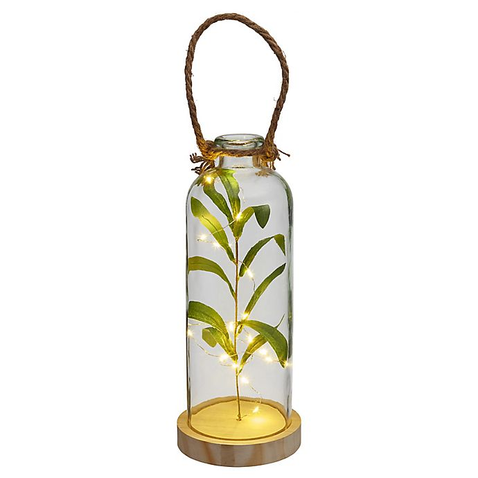 Alternate image 1 for Elements LED Glass Bottle with Faux Greenery