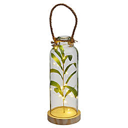 Elements LED Glass Bottle with Faux Greenery