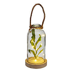 Elements 10-Inch LED Glass Bottle with Faux Greenery