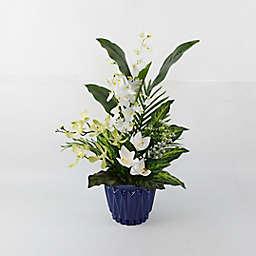 W Home 28-Inch White Orchid Arrangement in Blue Ceramic Vase