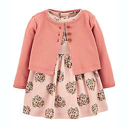 carter's® 2-Piece Floral Bodysuit Dress and Cardigan Set in Pink