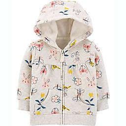 carter's® Floral Zip Front Hoodie in Grey/Multi