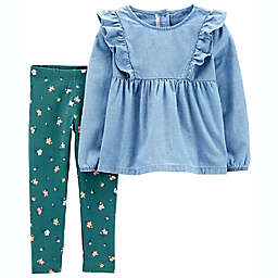 carter's® 2-Piece Chambray Floral Top and Legging Set
