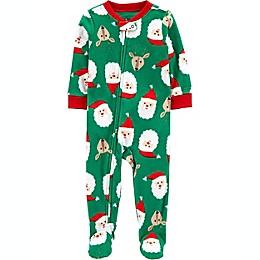 carter's® Santa Fleece Footie Pajama in Green