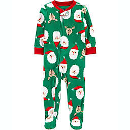 carter's® Santa Fleece Footie Pajama in Green