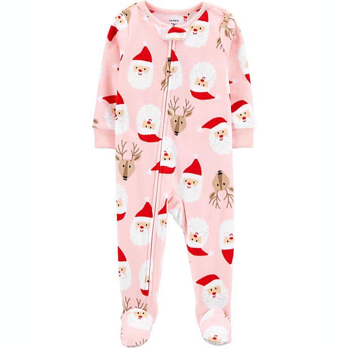 Alternate image 1 for carter's® Santa Face Fleece Toddler Footie in Pink