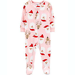 carter's® Santa Face Fleece Toddler Footie in Pink