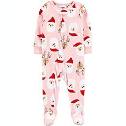 carter's® Santa Face Fleece Footie in Pink