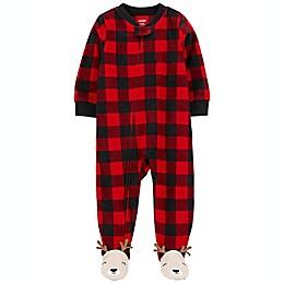 carter's® Buffalo Check Fleece Footie in Red