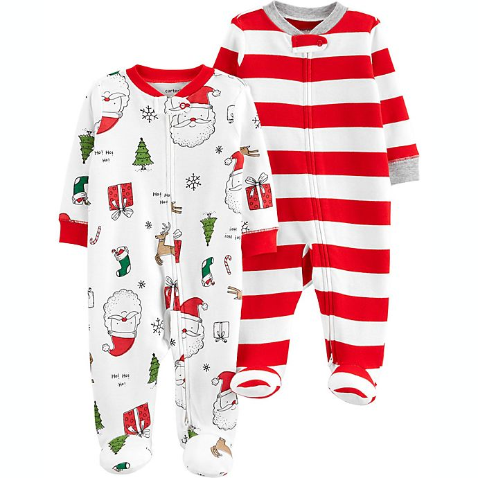Alternate image 1 for carter's® 2-Pack Santa Print Sleep 'N Plays in White
