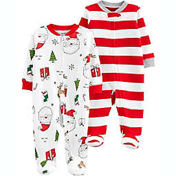 carter's® 2-Pack Santa Print Sleep 'N Plays in White