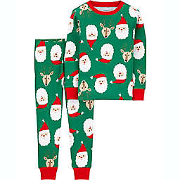 carter's® 2-Piece Santa 100% Snug Fit Cotton Pajama Set in Green