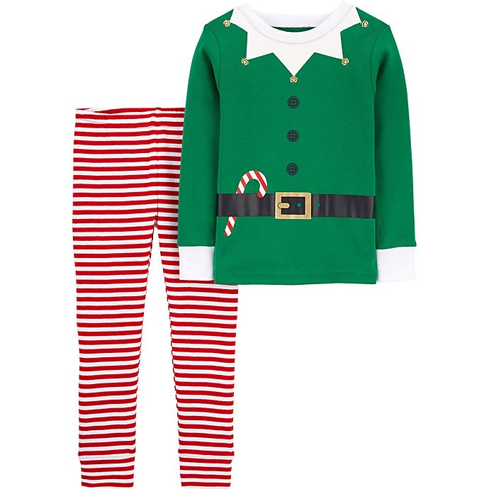 Alternate image 1 for carter's® Size 2T 2-Piece Organic Cotton Elf Pajama Set in Green