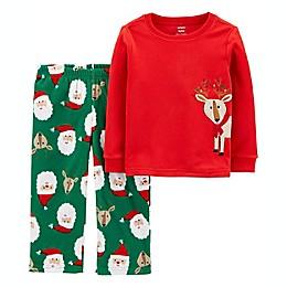 carter's® 2-Piece Christmas Reindeer Fleece Pajama Set in Red/Green