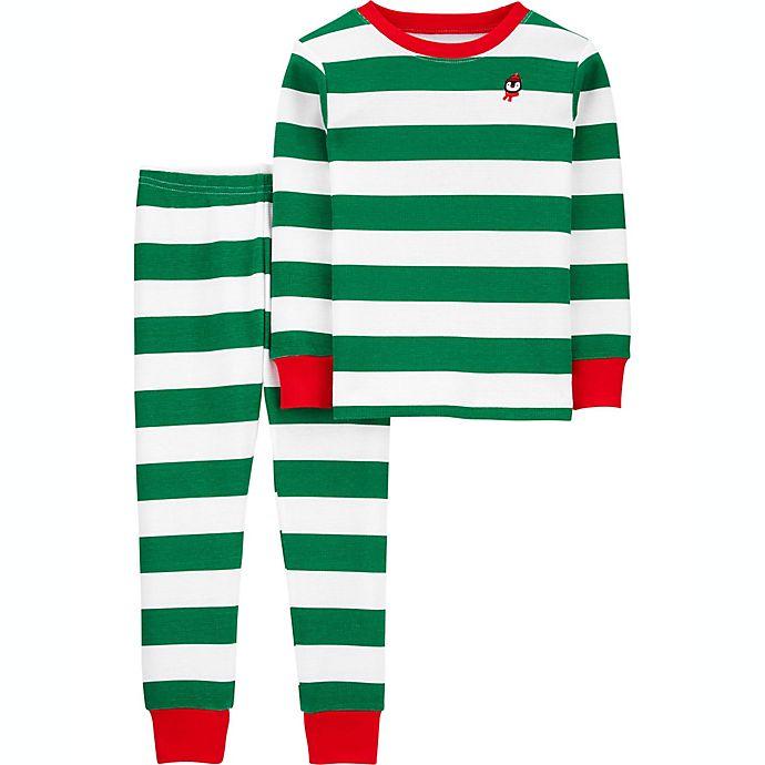 Alternate image 1 for carter's® 2-Piece Stripe Thermal Pajama Set in Green