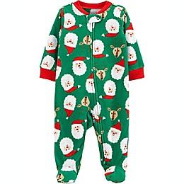 carter's® Fleece Zip-Up Christmas Sleep & Play Footie Pajama in Green