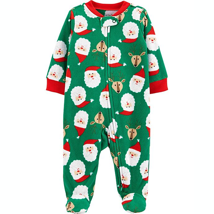 Alternate image 1 for carter's® Newborn Fleece Zip-Up Christmas Sleep & Play Footie Pajama in Green