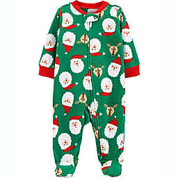 carter's® Newborn Fleece Zip-Up Christmas Sleep & Play Footie Pajama in Green