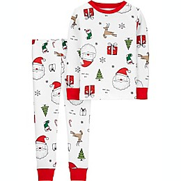 carter's® 2-Piece Santa Print Snug Fit Pajama Set in White