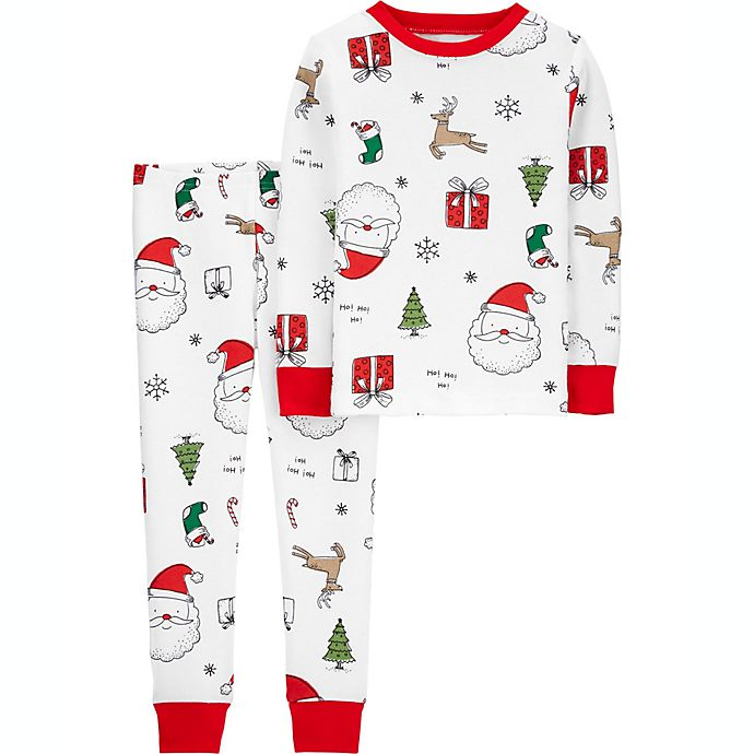 Alternate image 1 for carter's® 2-Piece Santa Print Snug Fit Pajama Set in White