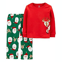carter's® 2-Piece Reindeer Christmas Fleece Pajama Set in Red/Green