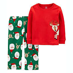 carter's® Size 2T 2-Piece Reindeer Christmas Fleece Pajama Set in Red/Green