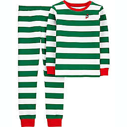 carter's® Size 4 2-Piece Stripe Thermal Pajama Set in Green