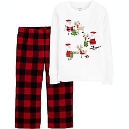 carter's® 2-Piece Buffalo Plaid Fleece Toddler Pajama Set in White