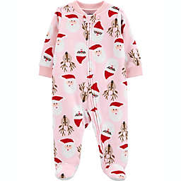 carter's® Santa Face Fleece Sleep 'N Play in Pink
