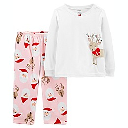 carter's® 2-Piece Christmas Reindeer Fleece Pajama Set in White/Pink