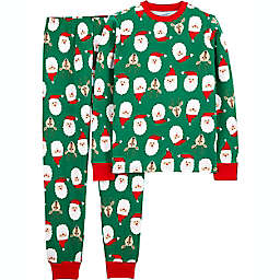 carter's® Adult Large 2-Piece Santa Face Organic Cotton Pajama Set in Green