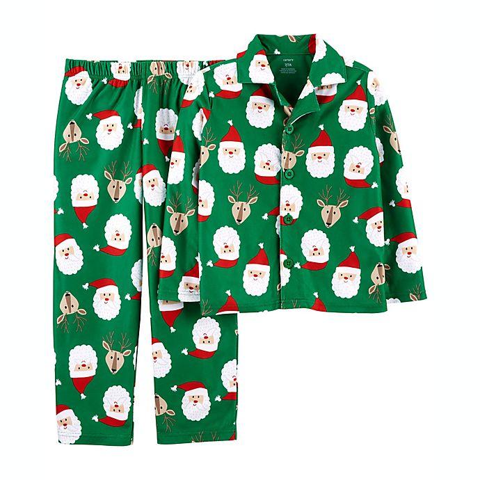 Alternate image 1 for carter's® 2-Piece Santa Face Fleece Pajama Set
