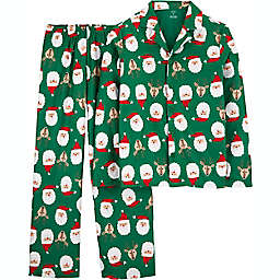 carter's® 2-Piece Adult Christmas Coat Style Santa Face Fleece Pajama Set