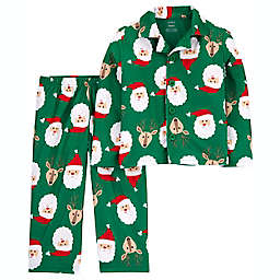 carter's® 2-Piece Santa Coat-Style Fleece Pajama Set in Green