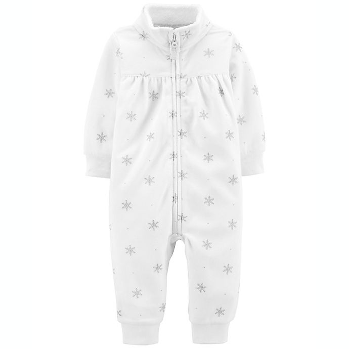 Alternate image 1 for carter's® Snow Fleece Jumpsuit in White/Silver