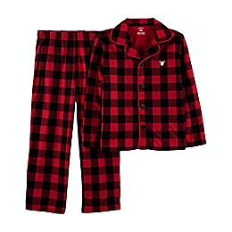 carter's® 2-Piece Buffalo Check Coat-Style Fleece Pajama Set