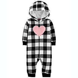 carter's® Size 24M Heart Print Fleece Romper in Black/White