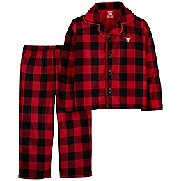 carter's® 2-Piece Buffalo Plaid Coat-Style Fleece Toddler Pajama Set in Red