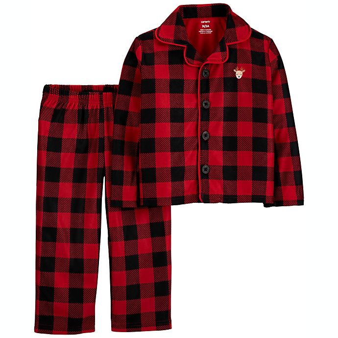 Alternate image 1 for carter's® 2-Piece Buffalo Plaid Coat-Style Fleece Toddler Pajama Set in Red