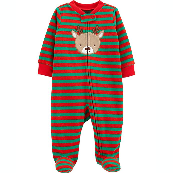 Alternate image 1 for carter's® Reindeer Fleece Sleep 'N Play in Red/Green