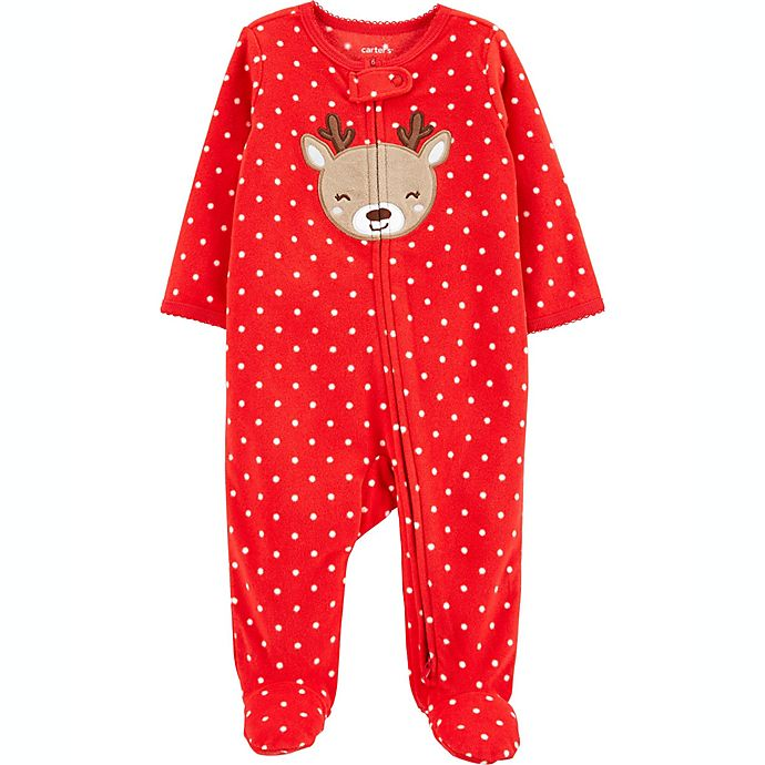Alternate image 1 for carter's® Reindeer Dot Fleece Sleep 'N Play in Red