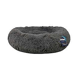 Calming Vegan Fur Round Pet Bed in Charcoal