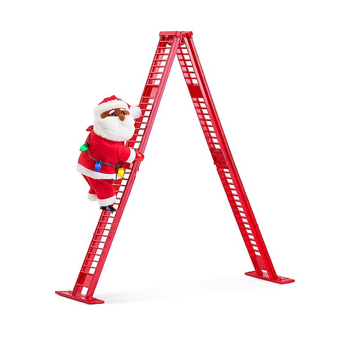 Alternate image 1 for Mr. Christmas® 17-Inch African American Santa LED Musical Tabletop Climber in Red