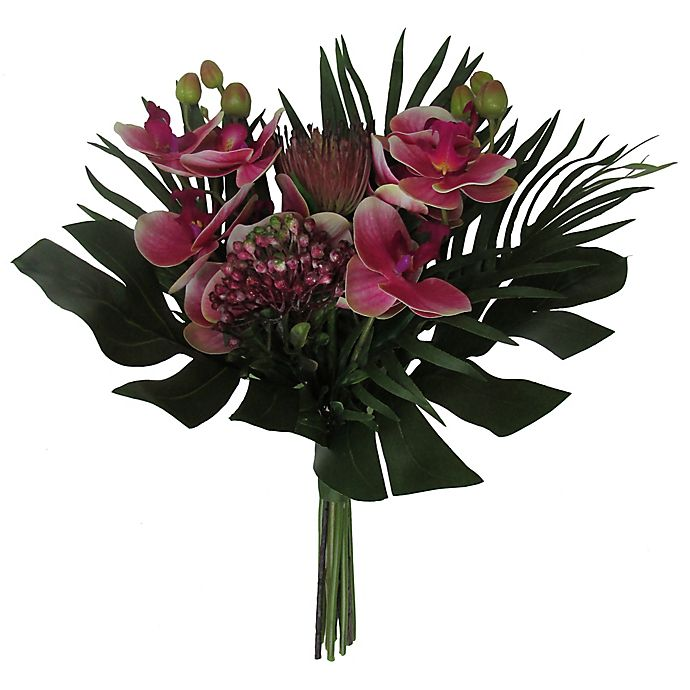 Alternate image 1 for W Home 17-Inch Orchid Cipyrus Bouquet in Fuchsia
