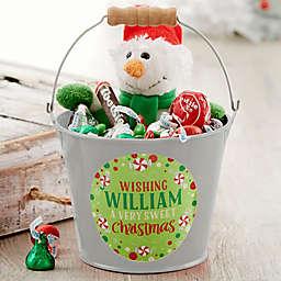 Sweet Christmas Personalized Mini Metal Bucket in Silver