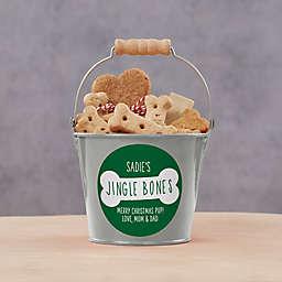 Jingle Bones Personalized Christmas Dog Treat Mini Bucket in Silver