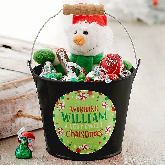 Alternate image 1 for Sweet Christmas Personalized Mini Metal Bucket in Black