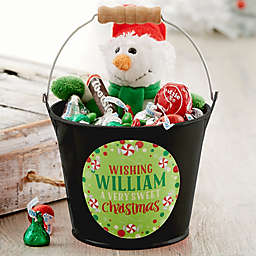 Sweet Christmas Personalized Mini Metal Bucket in Black