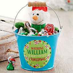 Sweet Christmas Personalized Mini Metal Bucket in Turquoise